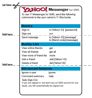 Y!M via SMS quick reference